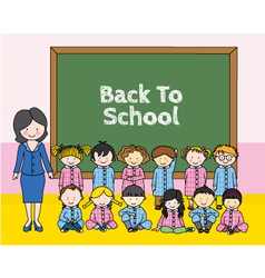 Children with teacher at school vector