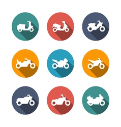 Set flat icons of motorcycles vector