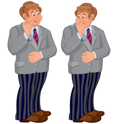 Happy cartoon man standing in striped pants vector