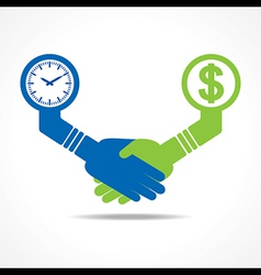 Handshake between men having time and money vector