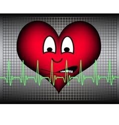 Heart afraid with green cardio line vector