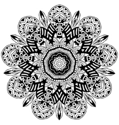 Ornament black white card with mandala vector