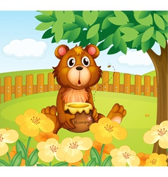 A bear inside the wooden fence vector