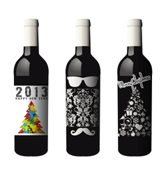 Three labeled wine bottles isolated vector