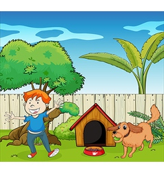 A boy dancing along with the dog vector