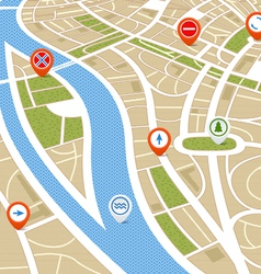Perspective background of abstract city map vector