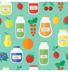 Seamless pattern with jars of juice in flat style vector