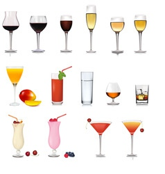 Set of different drinks vector