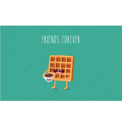 Coffee waffel vector