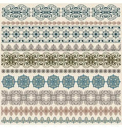 Seamless vintage border patterns vector