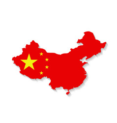 China flag map with shadow effect vector