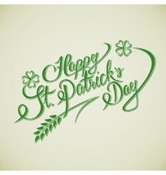 Happy st patricks day lettering greeting card vector