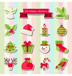 Set of merry christmas stickers vector