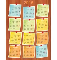 Calendar 2015 on notes vector