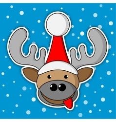 Christmas reindeer - blue background with snow vector