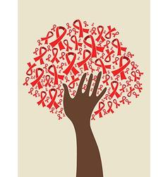 Aids ribbon hand tree vector