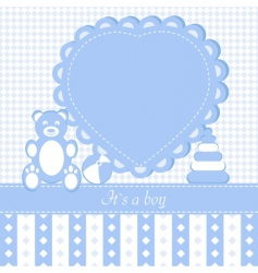 Baby boy shower invitation car vector