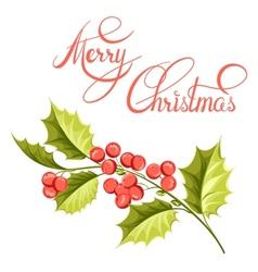 Christmas mistletoe branch drawing vector