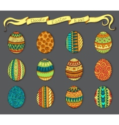 Ink hand-drawn doodle easter set with eggs vector