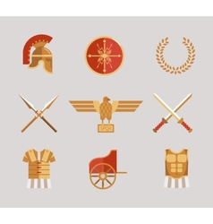 Set of ancient warrior accessories vector