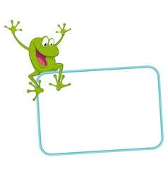 Label - joyful frog on the frame vector