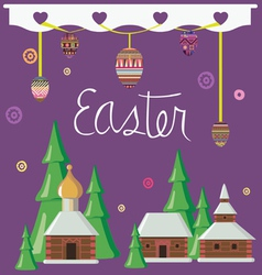 Easter greeting card with rural constructions vector