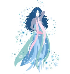 The woman of winter season vector