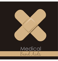 Bandages forming a cross on brown background vector