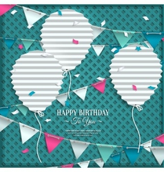 Birthday wish with bunting flags and balloons in vector