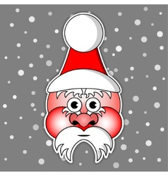 Santa claus with ski cap and red cheeks vector