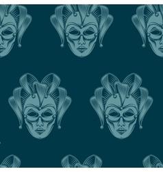 Venetian carnival mask seamless pattern vector