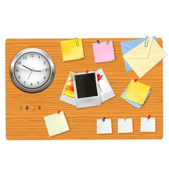 Clock office supplies on the desk vector
