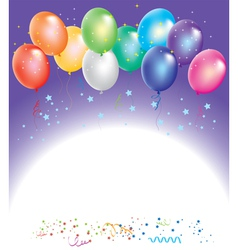Colorful balloons with confetti vector