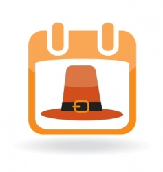 Calendar icon with pilgrim hat vector