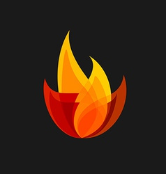 Fire sign colorful flame logo template vector