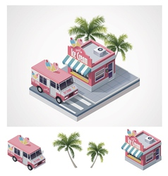 Isometric ice cream store and truck vector