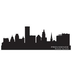 Providence rhode island skyline detailed city silh vector