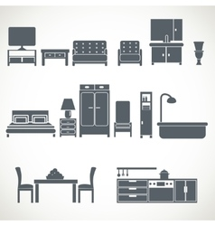 Home furniture design blackicons set vector