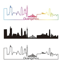 Guangzhou skyline linear style with rainbow vector