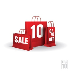 Shopping bag printed with a ten discount  isolated vector