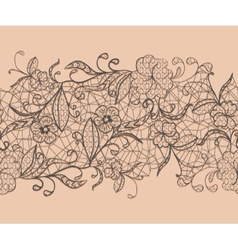 Seamless lace black ribbon on a pink background vector