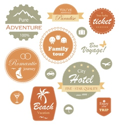 Travel and vacation label badge and emblem set vector