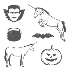 Set of halloween characters and design elements vector