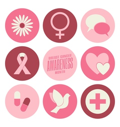 Flat design breast cancer awareness pink icons set vector