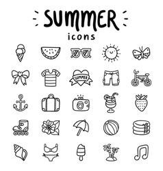 Summer icons outlined vector