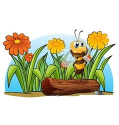 A bee above a trunk vector