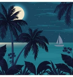 Tropical ocean landscape with palm trees vector