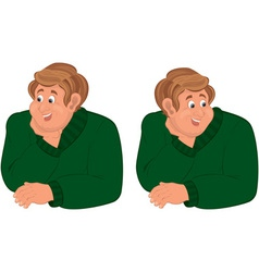 Happy cartoon man torso in green sweater vector