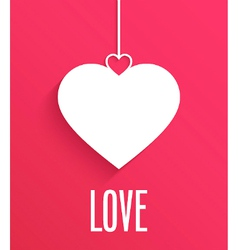 Greeting card with hanging heart vector
