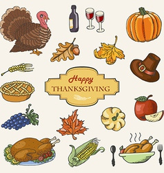 Set of sketch doodle thanksgiving icon hand draw vector